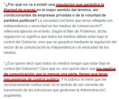 Pablo Iglesias y el control de los medios privados