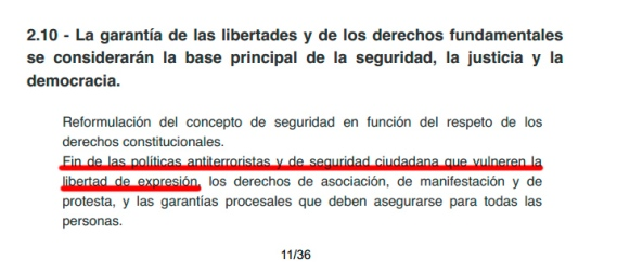 Captura del programa de Podemos para el parlamento europeo